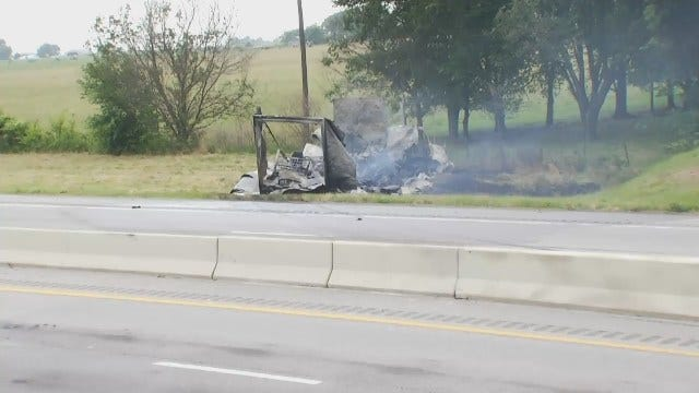 WEB EXTRA: Video From Scene Of Will Rogers Turnpike Truck Crash, Fire