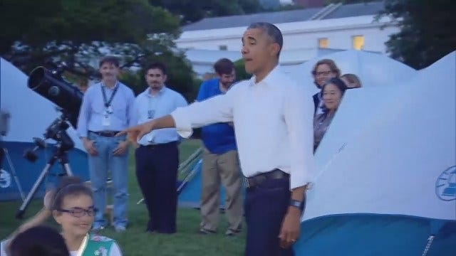 WEB EXTRA: President Obama Visits Girl Scouts Camped Out On White House Lawn