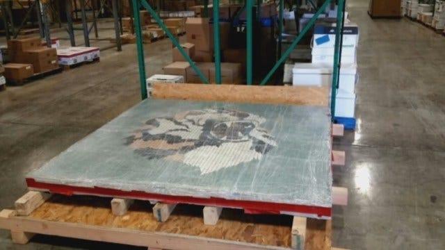 WEB EXTRA: Broken Arrow High Mosaic Tiger Moved Into Storage