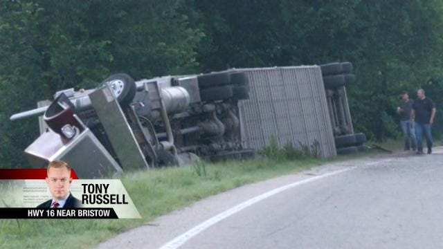 Cattle Truck Overturns In Creek County