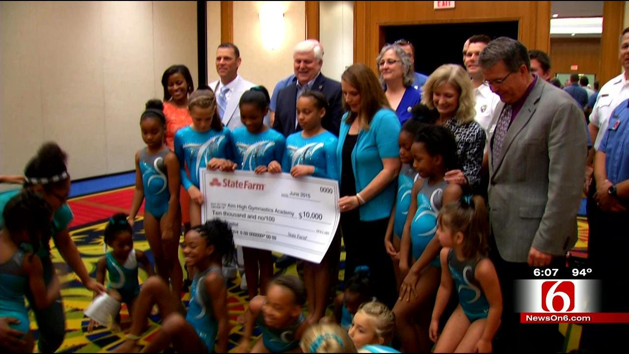 Tulsa Gymnasts Receive Donation, Reunite With Hero Firefighters