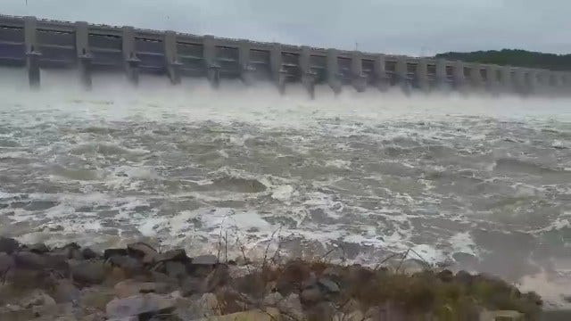 WEB EXTRA: Water Pours From Fort Gibson Dam