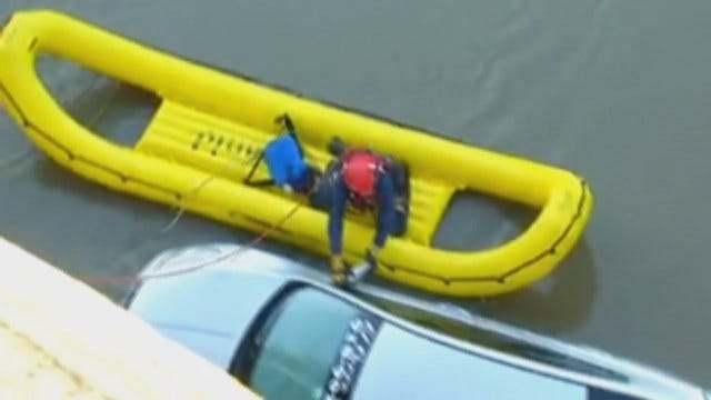 WEB EXTRA: Video Of Car Found In Caney River North Of Collinsville