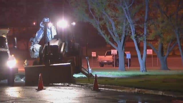 WEB EXTRA: Video Of Water Main Break On 31st Street In Tulsa
