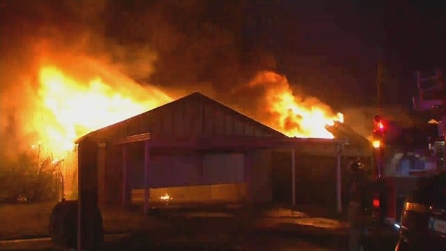 WEB EXTRA: Video Of Flames From East Tulsa House Fire