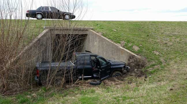 WEB EXTRA: Pickup Lodges In Culvert In Highway 169 Tulsa Wreck