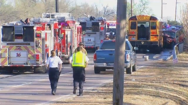 WEB EXTRA: Video From Scene Of Tulsa Public School Crash On North Lewis