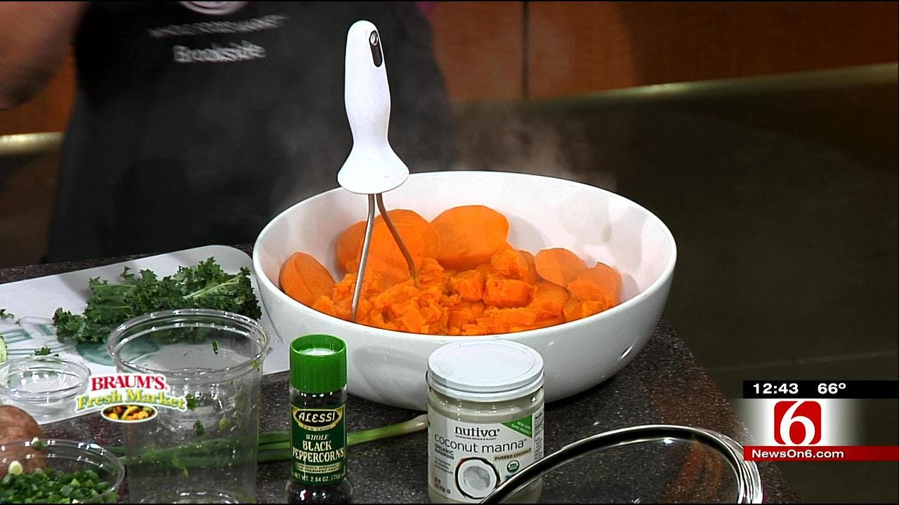 Mashed Sweet Potatoes With Kale & Coconut