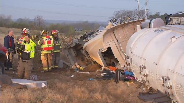 WEB EXTRA: Video From Scene Of Semi Rollover Crash Near Inola