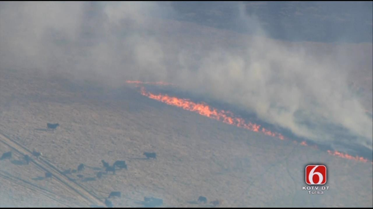WEB EXTRA: Flames Burn At Skiatook Wildfire
