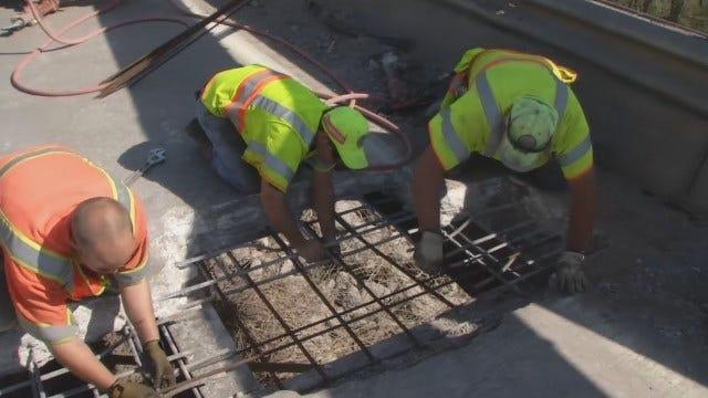WEB EXTRA: ODOT Workers Repairing Hole In Highway 169 Bird Creek Bridge