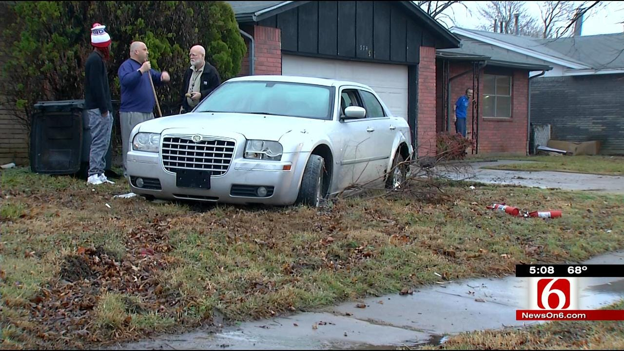 Tulsa Police: Intoxicated Driver Gets Car Stuck In Stranger's Yard