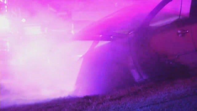 WEB EXTRA: Tulsa Car Crash, Fire On Tisdale