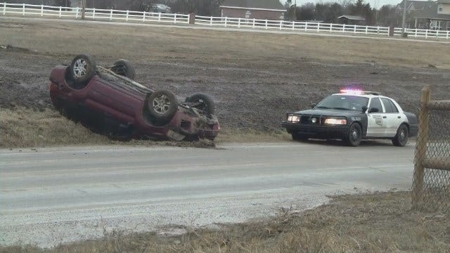 WEB EXTRA: Video From Scene Of Sand Springs Rollover Crash