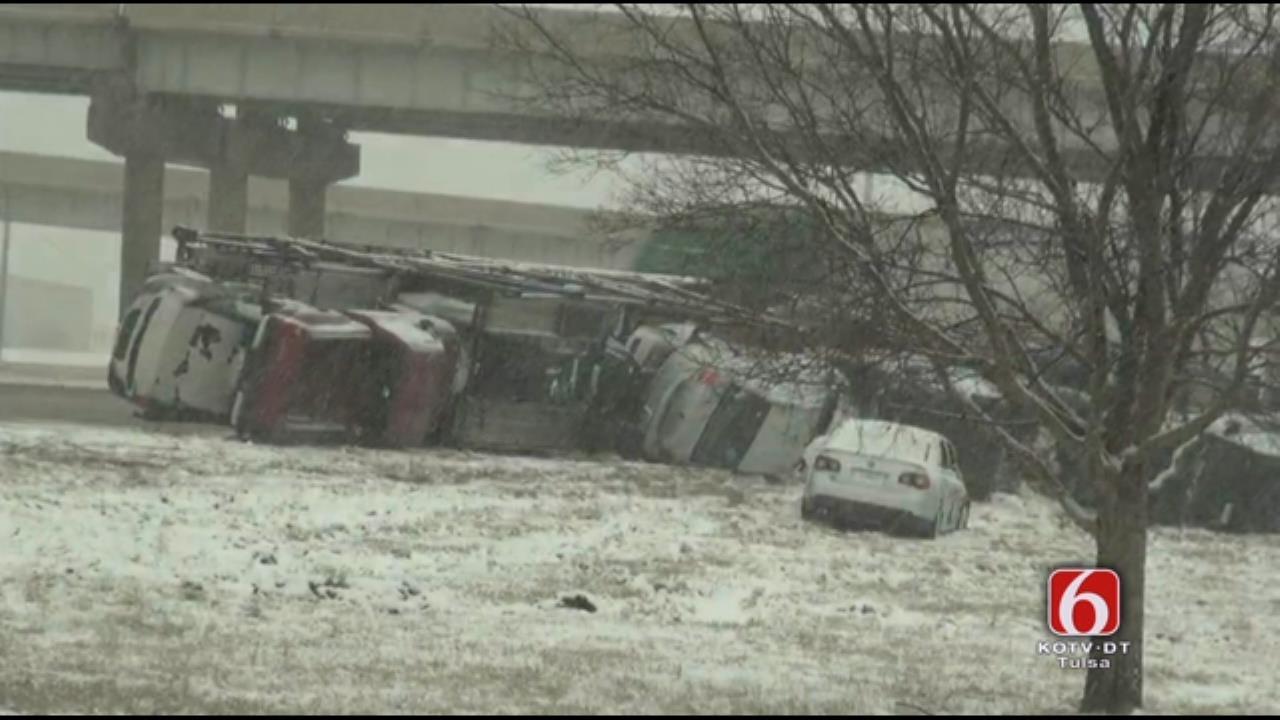 WEB EXTRA: Storm Spotter Video Of Overturned Car Hauler