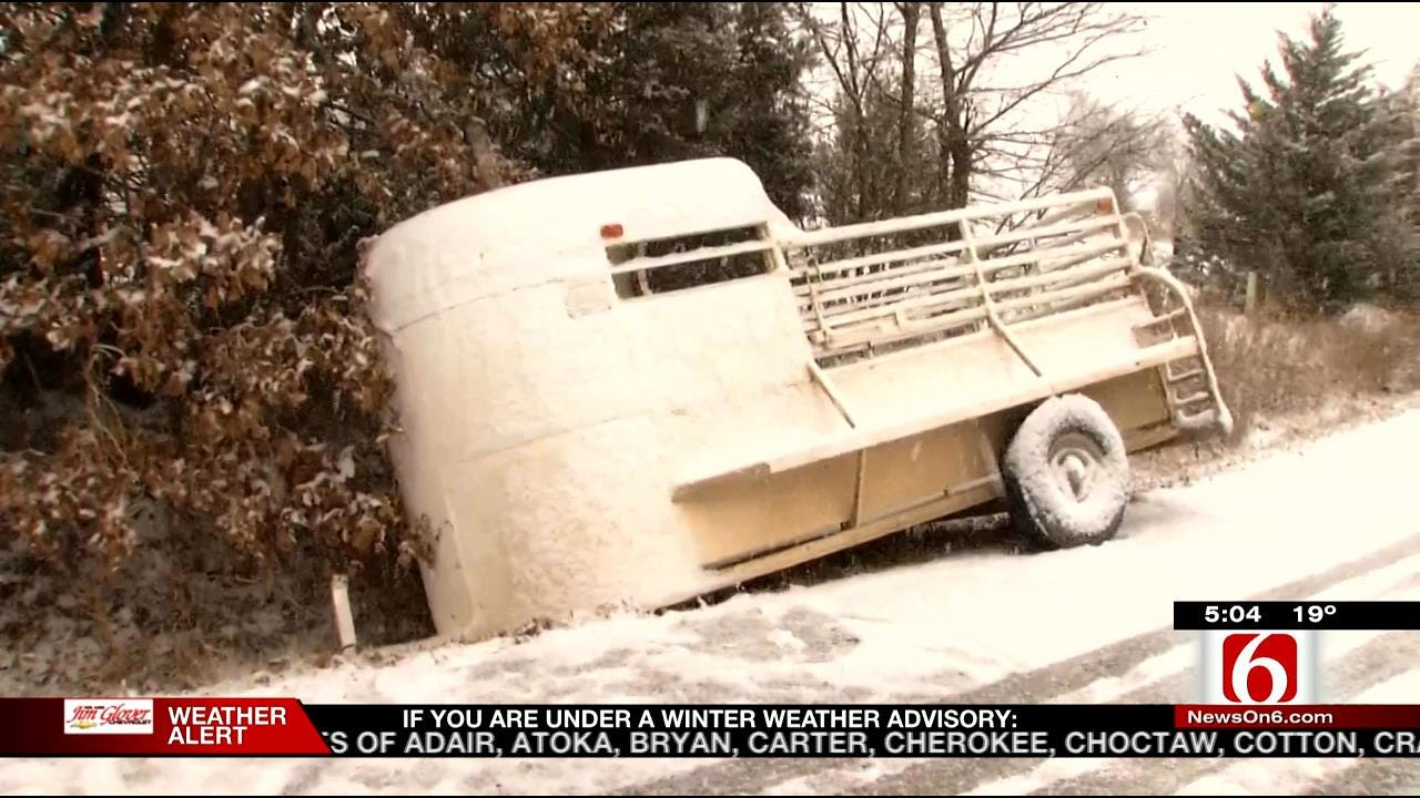 Propane Truck Rolls On Snowy Osage County Highway