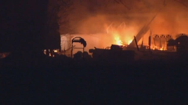 WEB EXTRA: Video Of Trailer Home Fire Near Sperry