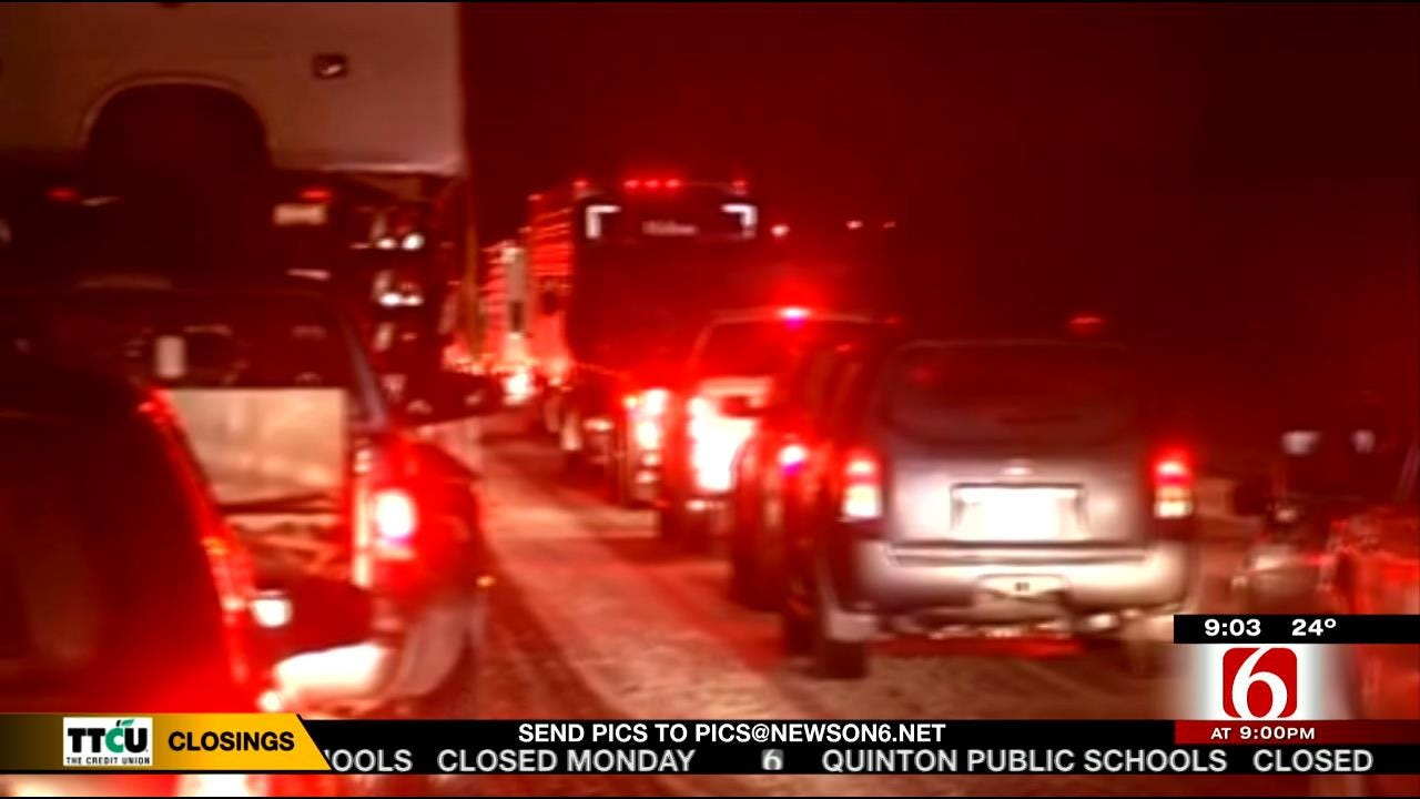 Traffic On Highway 69 Near Eufaula, McAlester At Icy Standstill