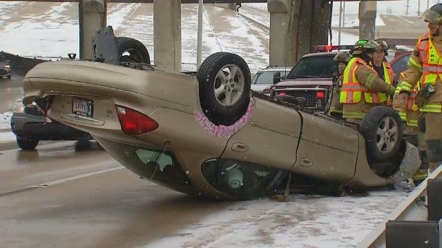 WEB EXTRA: Video Of Rollover Crash On IDL In Downtown Tulsa