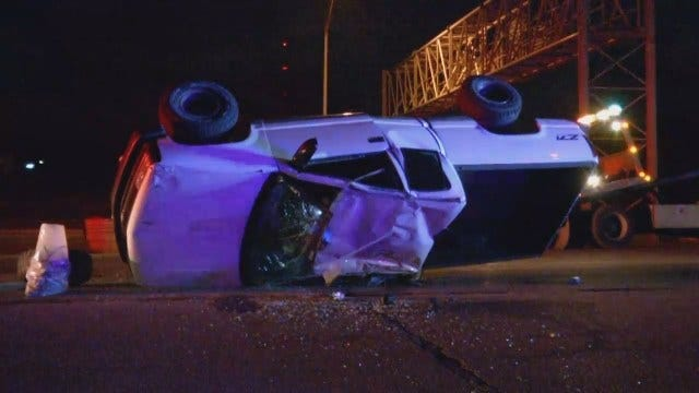 WEB EXTRA: Truck Abandoned In Rollover Tulsa Wreck