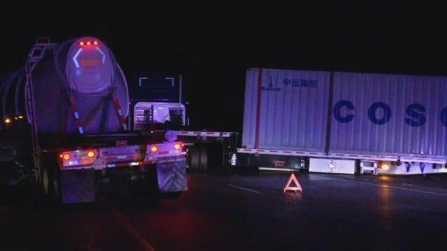 WEB EXTRA: Semis Block Highway 412 Near Inola