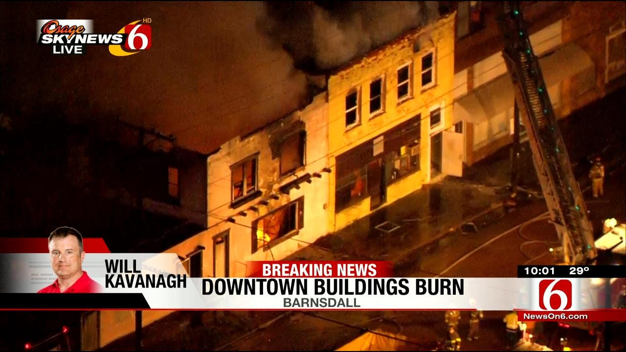 Fire Burns Buildings In Downtown Barnsdall