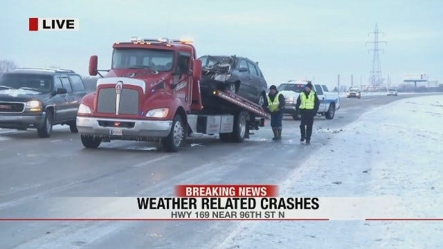 Cars Slipping And Sliding On Highway 169