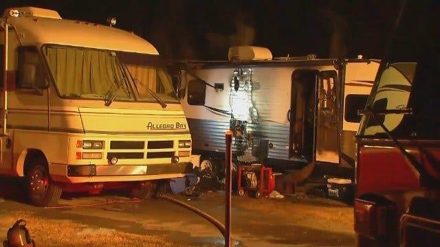 WEB EXTRA: Video From Scene Of Burnt RV Trailer At Sapulpa RV Park