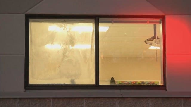 WEB EXTRA: Video Outside Of Sand Springs Middle School After Sprinkler Malfunctioned