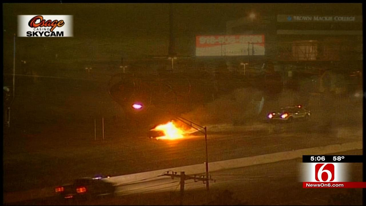 Woman Escapes Car Fire On Broken Arrow Expressway