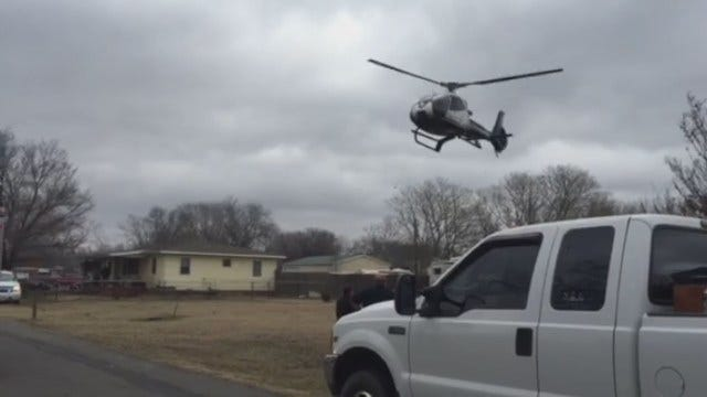 WEB EXTRA: Life Flight Helicopter Lands At Catoosa House Fire