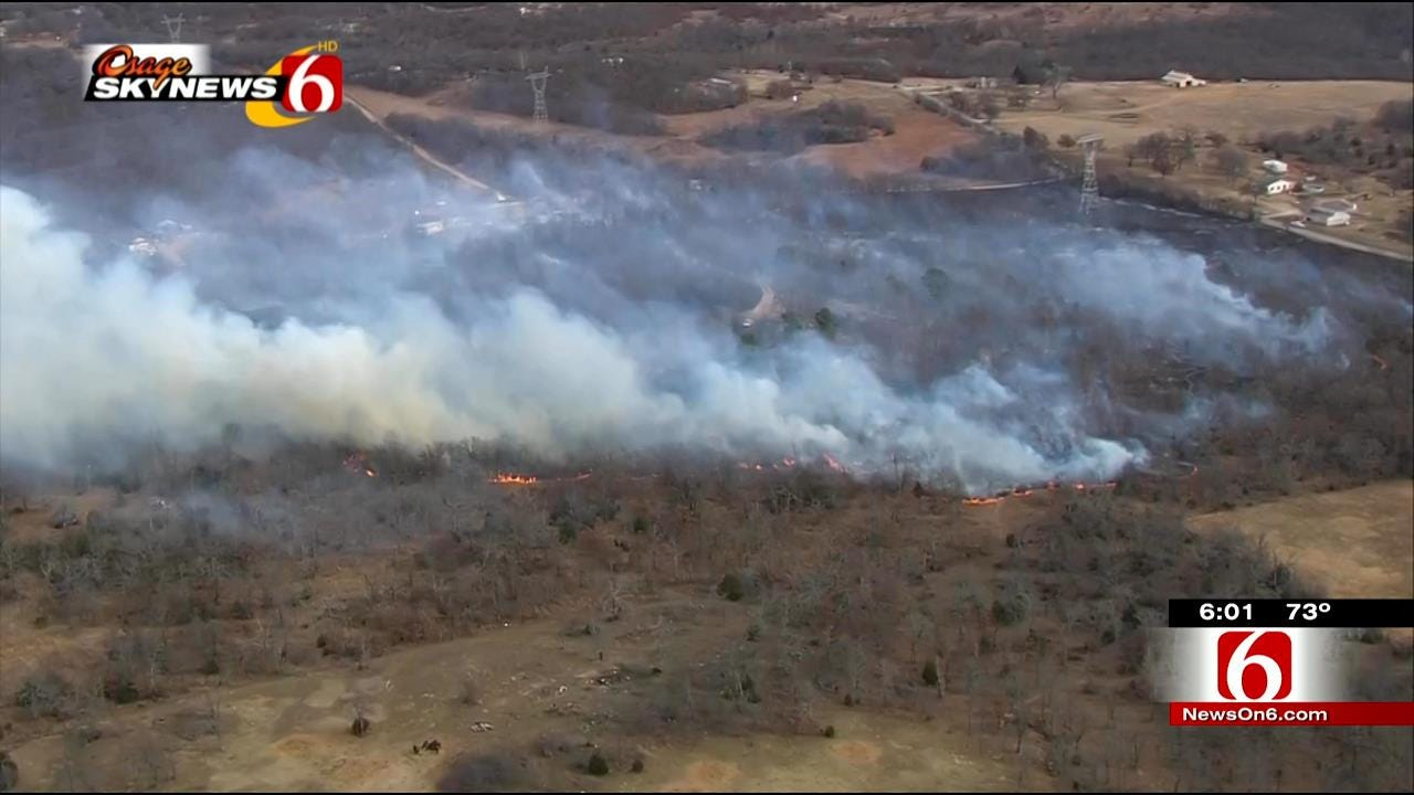 Brushfire Threatens Structures In Kiefer
