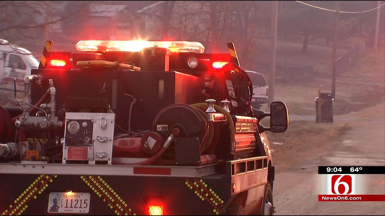 Firefighters Monitor Hotspots After Grass Fire Near Sapulpa