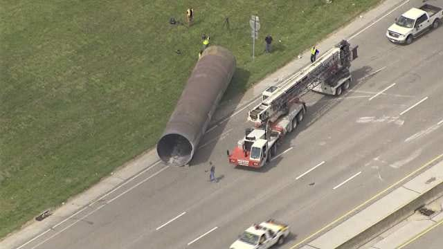 Osage SkyNews 6 Aerials Of Giant Pipe Incident On I-244 Near Lewis