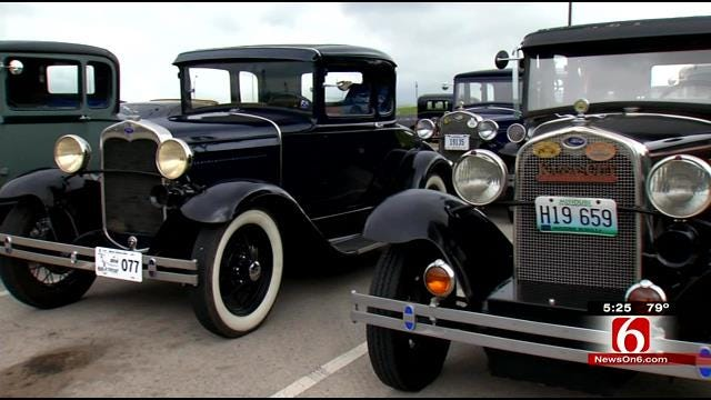 Model A Fords Parade Around In Tulsa