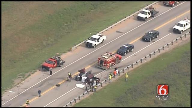 WEB EXTRA: Osage SkyNews 6 Flies Over Fatal Nowata County Crash