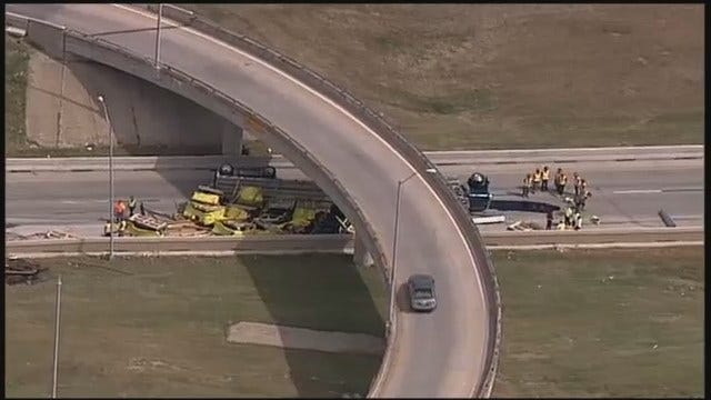 WEB EXTRA: Semi Overturns On Westbound IDL