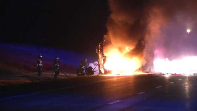 WEB EXTRA: Video From Creek Turnpike Charter Bus Fire