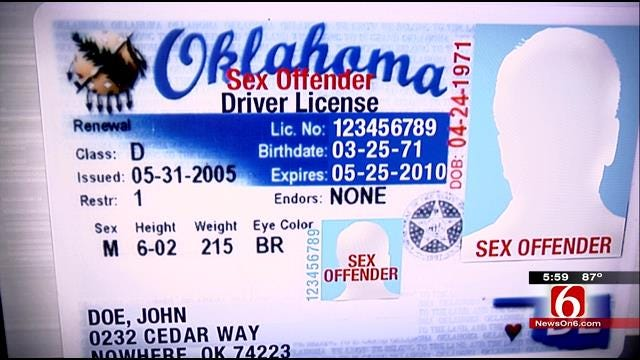 Oklahoma Requires Aggravated Sex Offenders To Have It Printed On License