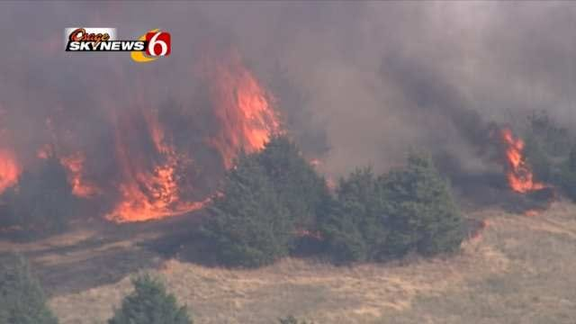 WEB EXTRA: Video From Osage SkyNews 6 Of Pawnee County Wildfire