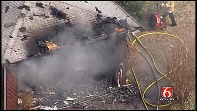 WEB EXTRA: Osage SkyNews 6 Over Tulsa House Fire
