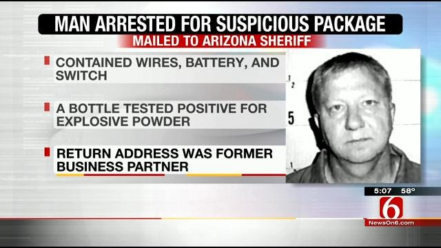 Oklahoma Man Reportedly Sends Homemade Bomb To Arizona Sheriff
