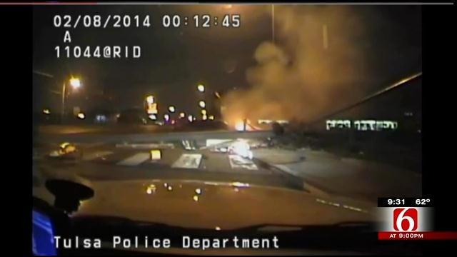 Dash Cam Footage Reveals Tulsa Police Officers Harrowing Rescue