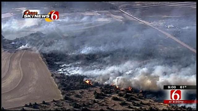 Oklahoma Firefighters Battling Grass Fires Across State