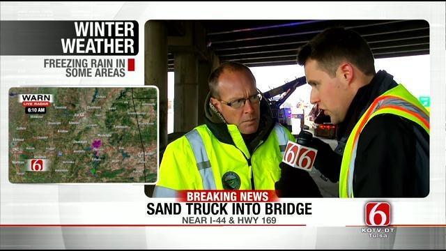 Sand Truck Hits Highway Bridge In Tulsa