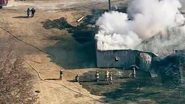 Osage SkyNews 6 Flies Over Jenks Metal Barn Fire