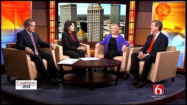 Candidates Kathy Taylor And Dewey Bartlett Debate