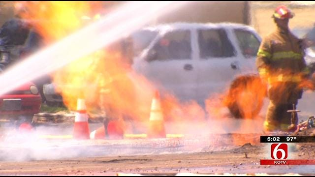 Gas Line Fire In South Tulsa Injures City Worker