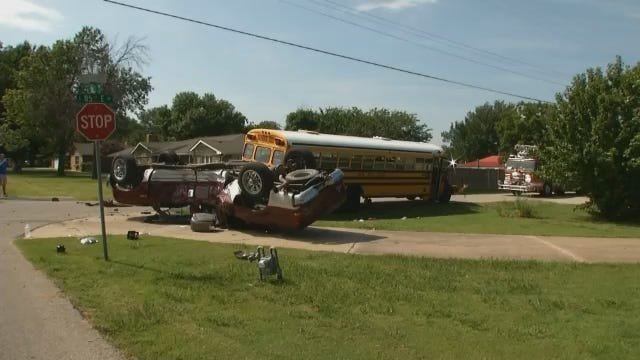 Tulsa School Bus, Pickup Collide After Just Second Day Of School