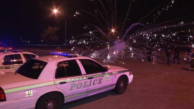 WEB EXTRA: Fireworks Aimed At Tulsa Police
